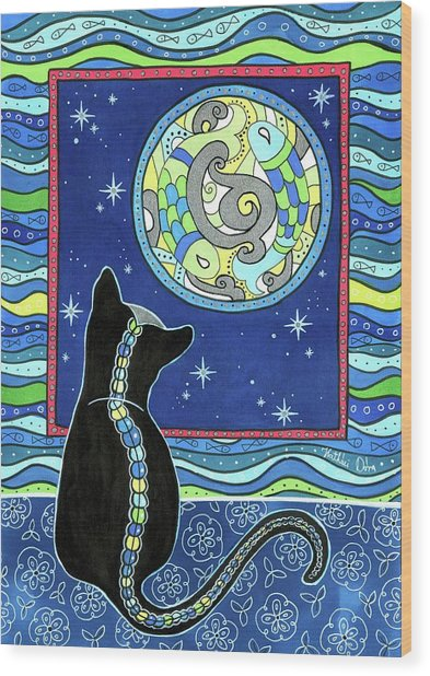 Pisces Cat Zodiac - Full Moon Wood Print