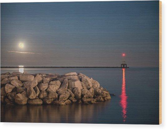 Full Moon In Port Wood Print
