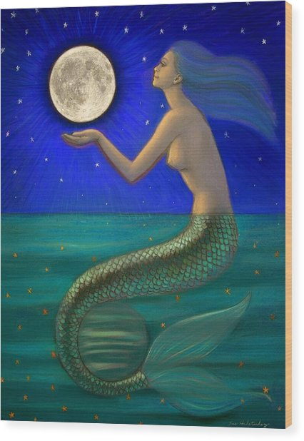 Full Moon Mermaid Wood Print