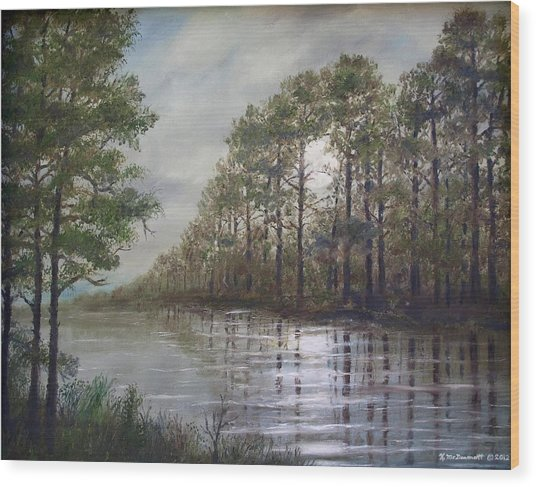 Full Moon On The River Wood Print