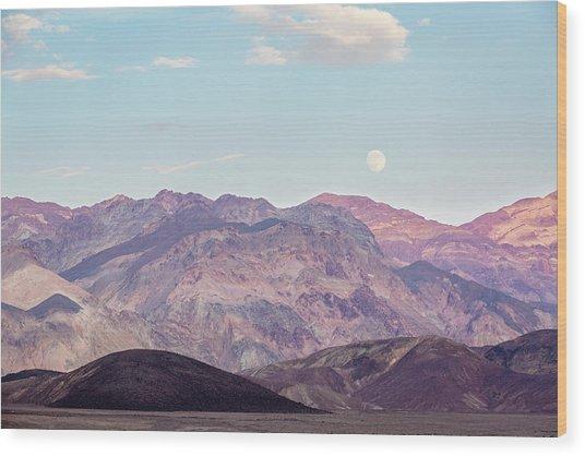 Full Moon Over Artists Palette Wood Print