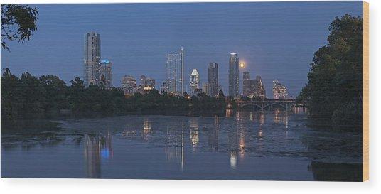 Full Moon Over Austin Wood Print