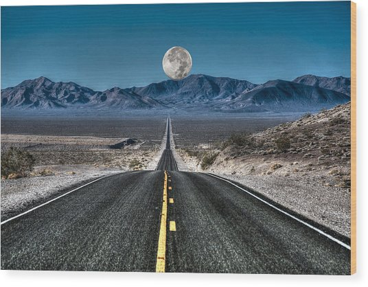 Full Moon Over Death Valley Wood Print