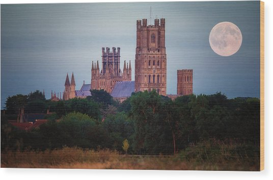 Full Moon Over Ely Cathedral Wood Print