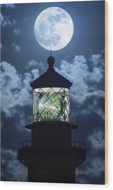 Full Moon Over Hillsboro Lighthouse In Pompano Beach Florida  Wood Print