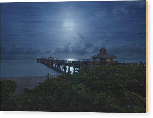Full Moon Over Juno Beach Pier Wood Print
