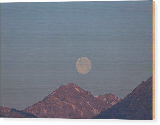 Full Moon Over The Tetons Wood Print