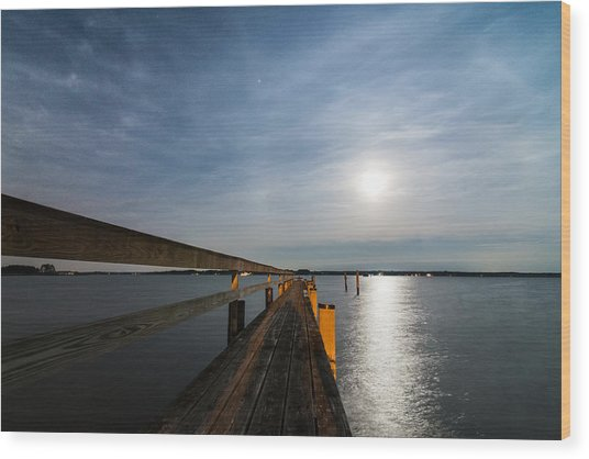 Full Moon Pier Wood Print