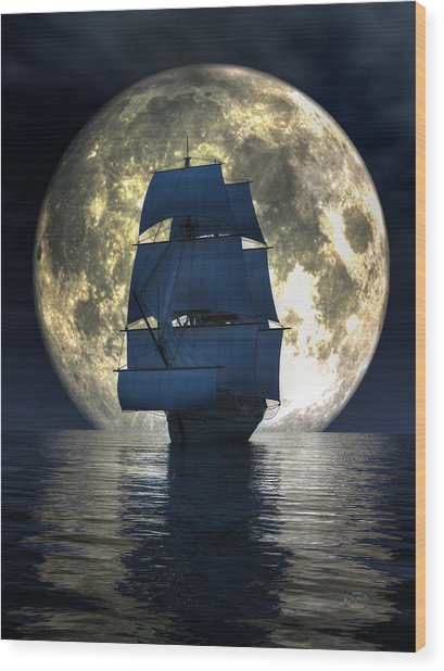 Full Moon Pirates Wood Print