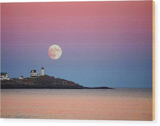 Full Moon Rising At Nubble Light Wood Print