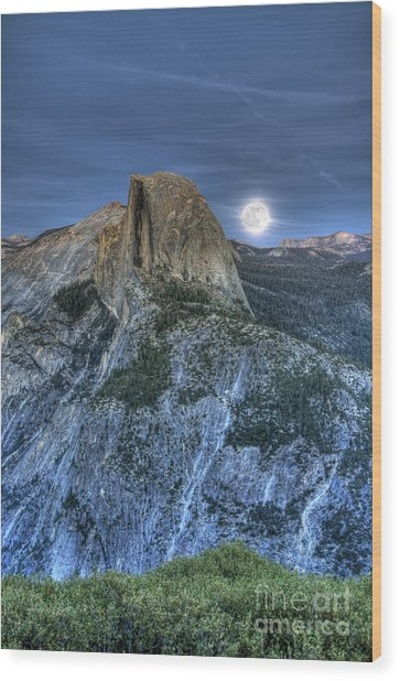 Full Moon Rising Behind Half Dome Wood Print