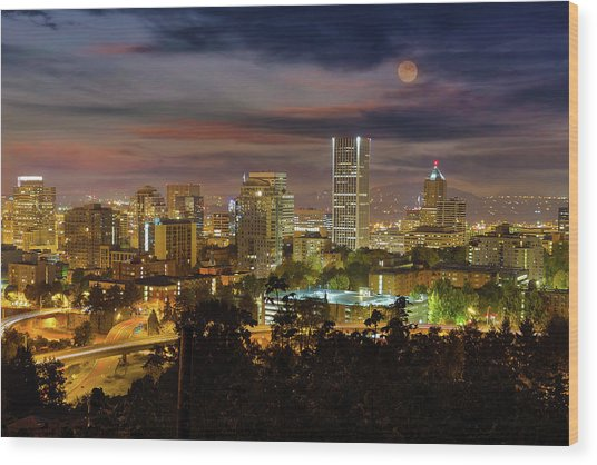 Full Moon Rising Over Downtown Portland Wood Print