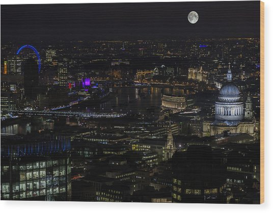 Full Color Moon Rising Over London Skyline  Wood Print