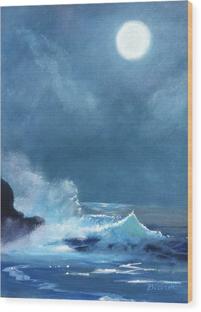 Full Moon Seascape Wood Print