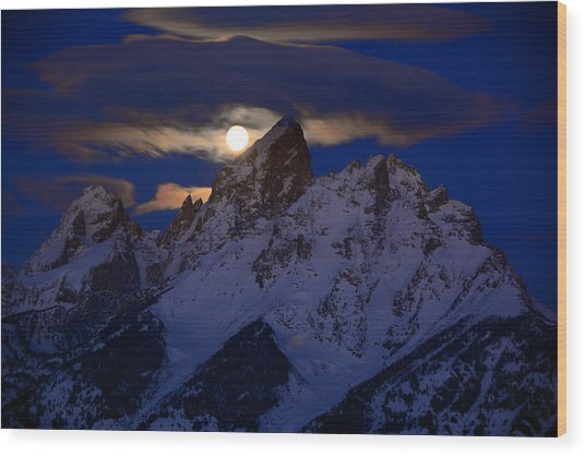 Full Moon Sets Over The Grand Teton Wood Print