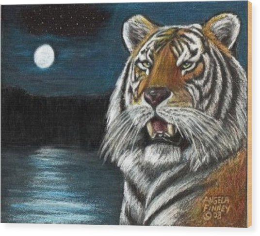 Full Moon Tiger Wood Print by Angela Finney