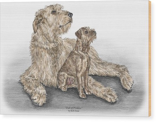 Full Of Promise - Irish Wolfhound Dog Print Color Tinted Wood Print