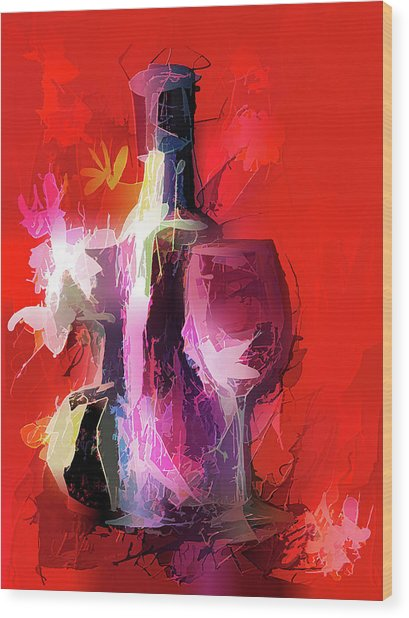 Fun Colorful Modern Wine Art   Wood Print