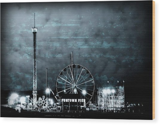 Fun In The Dark - Jersey Shore Wood Print