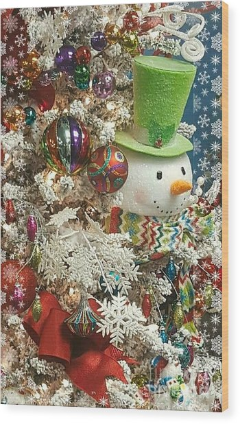 Fun Snowman Holiday Greeting Wood Print