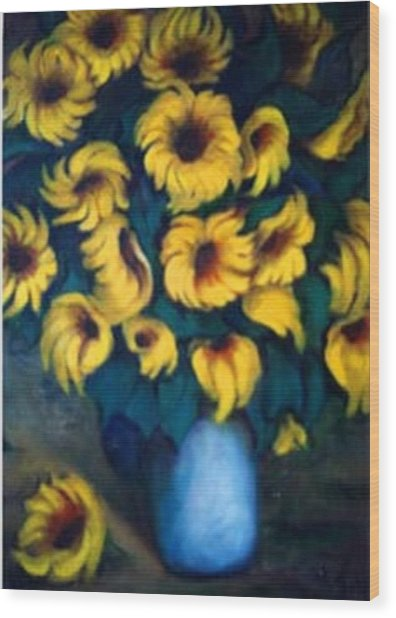 Fun Sun Flowers Wood Print