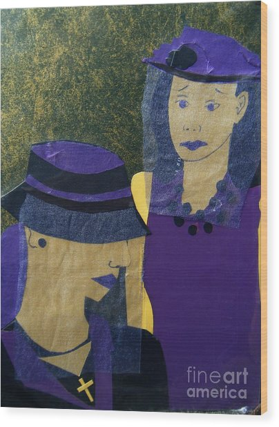 Funeral Masks Wood Print by Debra Bretton Robinson