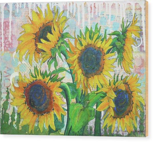 Funflowers Wood Print