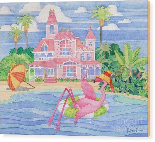 Funky Flamingo Hotel I Wood Print by Paul Brent
