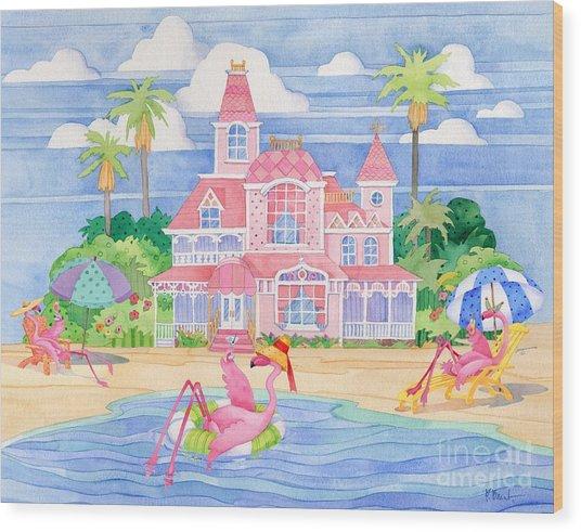 Funky Flamingo Hotel II Wood Print by Paul Brent