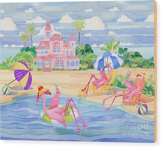 Funky Flamingo Hotel IIi Wood Print by Paul Brent
