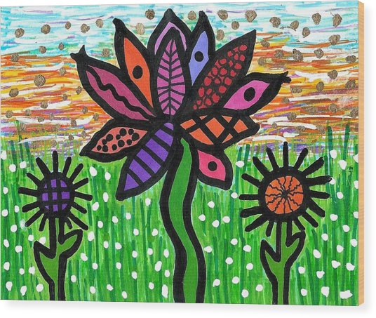 Funky Flowers At Sunset Wood Print