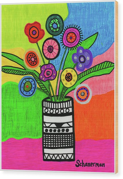 Funky Folk Flowers Wood Print