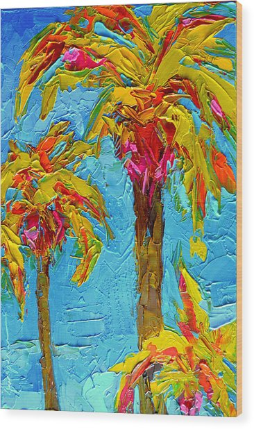 Funky Fun Palm Trees - Modern Impressionist Knife Palette Oil Painting Wood Print