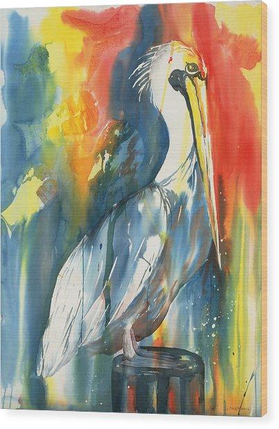 Funky Pelican Wood Print