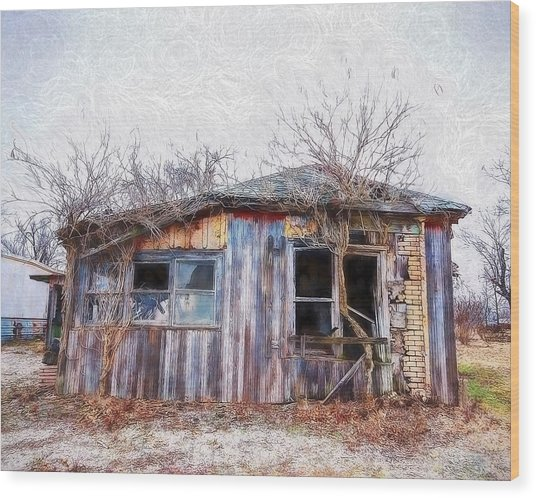 Funky Shack Wood Print