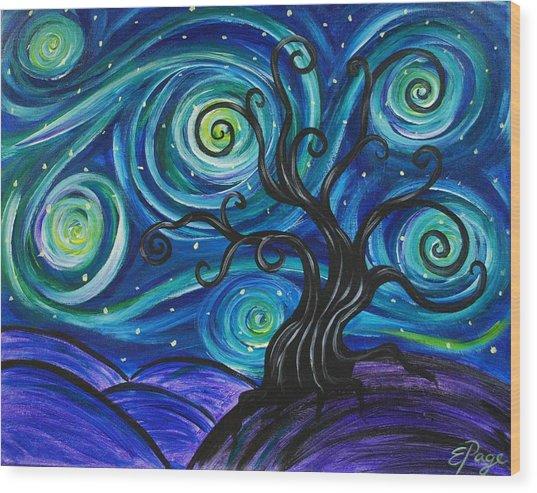 Funky Tree, Starry Night Wood Print