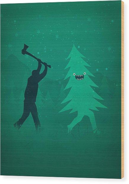 Funny Cartoon Christmas Tree Is Chased By Lumberjack Run Forrest Run Wood Print