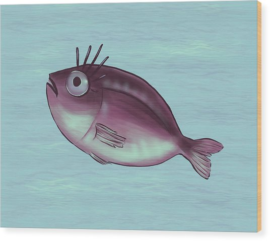 Funny Fish With Fancy Eyelashes Wood Print