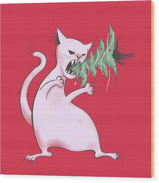 Funny White Cat Eats Christmas Tree Wood Print