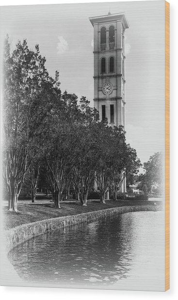 Furman University Bell Tower Greenville South Carolina Black And White Wood Print