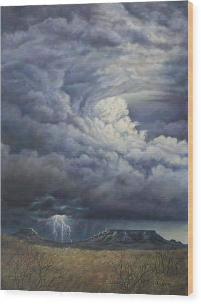Fury Over Square Butte Wood Print