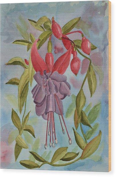 Fuschia Flower Wood Print