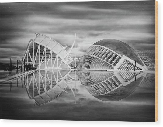 Futuristic Architecture Of Modern Valencia Spain In Black And Wh Wood Print by Carol Japp