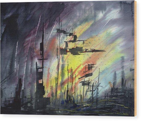 Futuristic Cityscape Wood Print