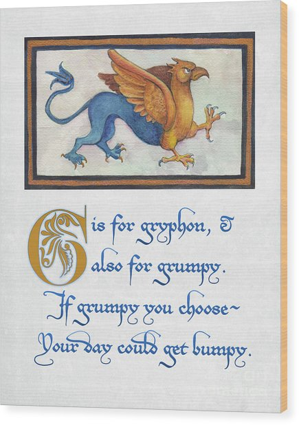 G Is For Gryphon Wood Print