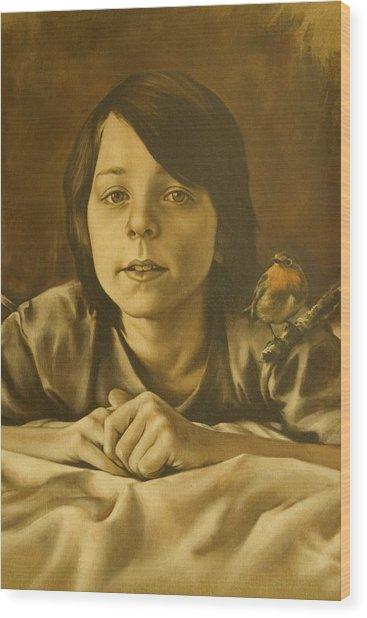 Gabriel Monotone Sketch Wood Print by Tim Thorpe