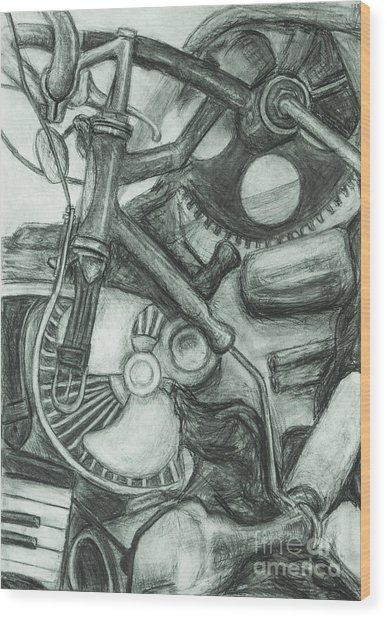 Wood Print featuring the drawing Gadgets Of Sorts by Angelique Bowman