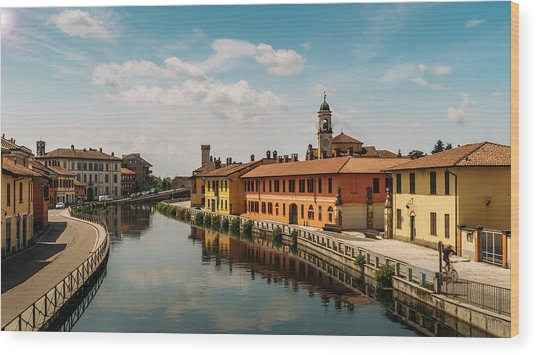 Gaggiano On The Naviglio Grande Canal, Italy Wood Print
