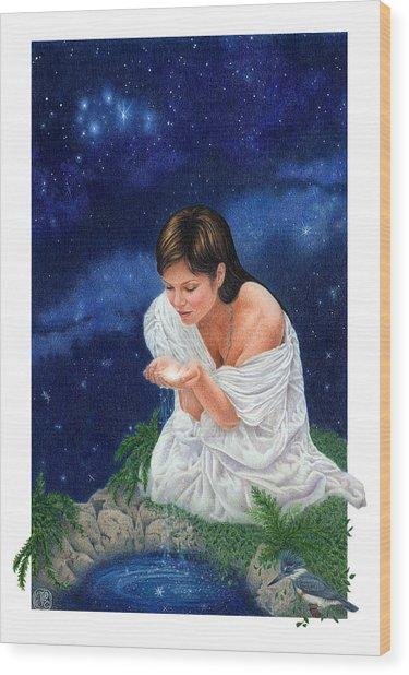 Gaian Tarot Star Wood Print by Joanna Powell Colbert