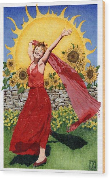 Gaian Tarot Sun Wood Print by Joanna Powell Colbert